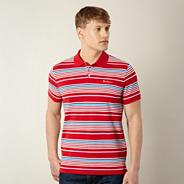 Big and tall red block striped pique polo shirt