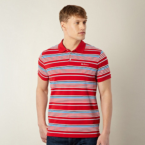 Ben Sherman - Red block striped pique polo shirt