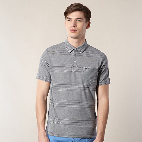 Ben Sherman - Navy fine striped pocket polo shirt