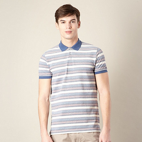 Ben Sherman - Dark blue striped oxford polo shirt
