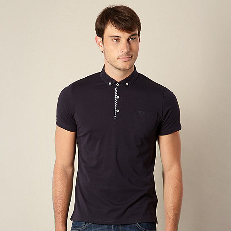 Ben Sherman - Navy gingham trim polo shirt