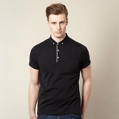 Ben Sherman - Black gingham trim polo shirt