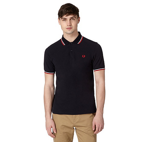 Fred Perry - Navy tipped regular fit polo shirt
