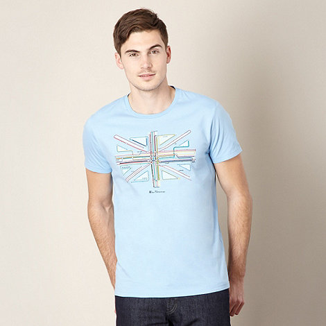 Ben Sherman - Light blue underground flag print t-shirt
