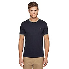 Fred Perry - Navy embroidered logo tipped t-shirt
