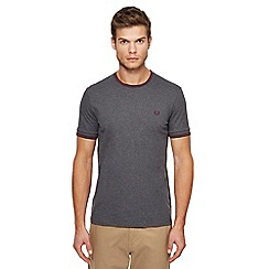 Fred Perry - Grey embroidered logo tipped t-shirt