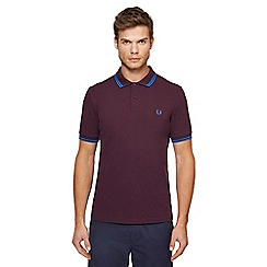 Fred Perry - Big and tall dark purple tipped embroidered logo polo shirt