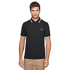 Fred Perry - Big and tall dark green tipped embroidered logo polo shirt