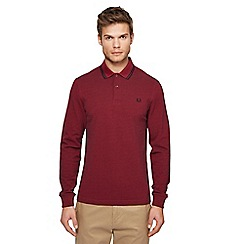 Fred Perry - Big and tall dark red embroidered logo long sleeve polo shirt