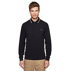 Fred Perry - Big and tall black embroidered logo long sleeve polo shirt