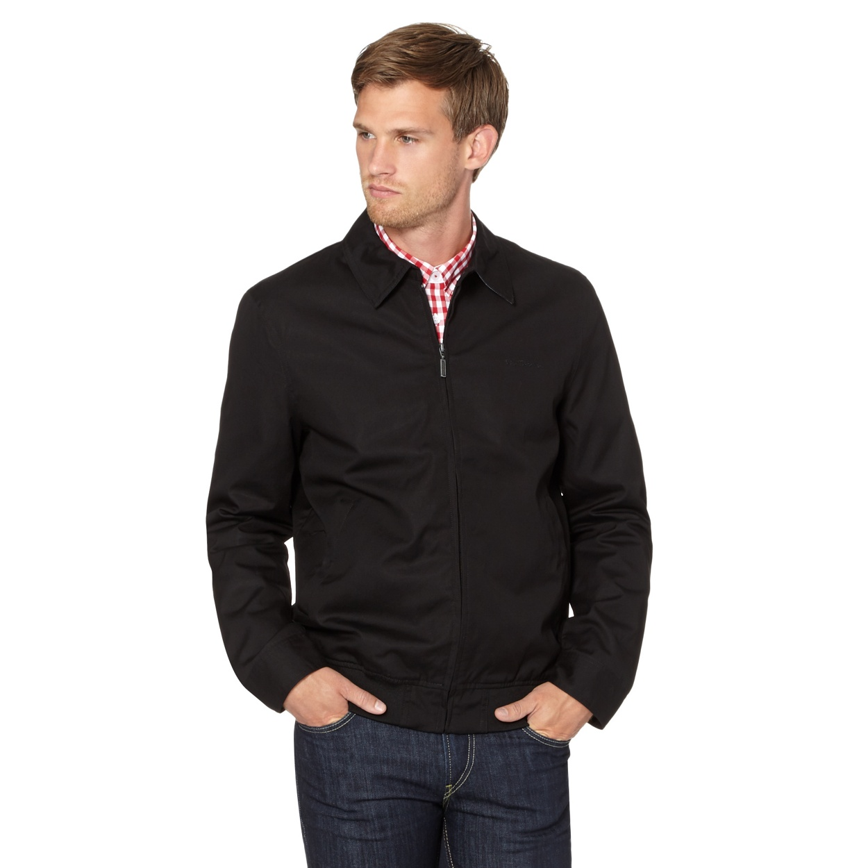 Ben Sherman Black harrington jacket | Debenhams