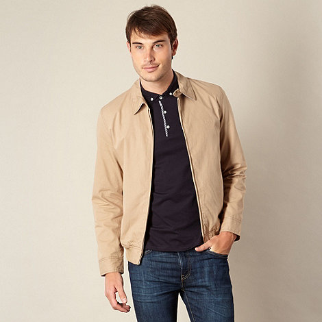 Ben Sherman - Big and tall beige cotton zip bomber jacket