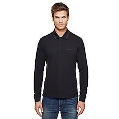 Ben Sherman - Big and tall black embroidered logo long sleeve polo shirt