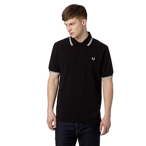 Fred Perry - Black tipped regular fit polo shirt