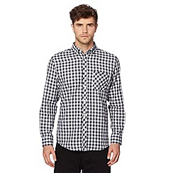 Ben Sherman - Navy jacquard checked shirt