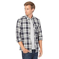 Ben Sherman - Grey large tartan checked twill shirt