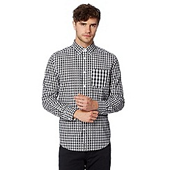 Ben Sherman - Big and tall black mixed gingham checked shirt