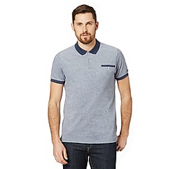 Ben Sherman - Navy oxford pique polo shirt
