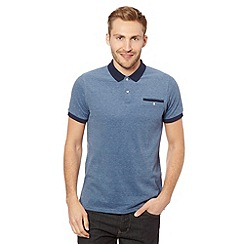 Ben Sherman - Blue pique oxford polo shirt