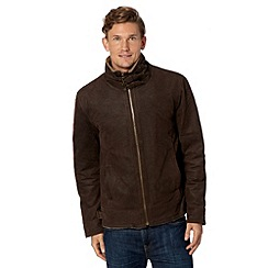 Barneys - Big and tall brown leather borg collar jacket