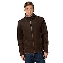 Barneys - Big and tall brown leather borg collar jacket