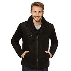 Barneys - Big and tall black suede mock layer harrington jacket