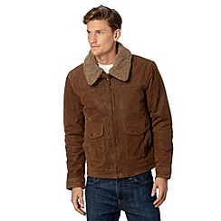 Barneys - Big and tall tan leather borg collar jacket