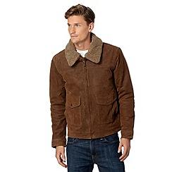 Barneys - Tan leather borg collar jacket