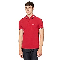 Ben Sherman - Red striped collar pique polo shirt