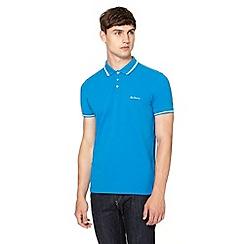 Ben Sherman - Bright blue striped collar pique polo shirt