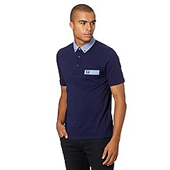 Fred Perry - Navy gingham collar pique slim fit polo shirt