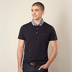 Ben Sherman - Navy chambray collar polo shirt