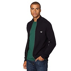 Fred Perry - Navy funnel neck zip fastening jumper