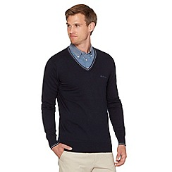 Ben Sherman - Big and tall navy twin striped v neck jumper