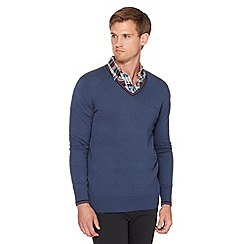 Ben Sherman - Big and tall mid blue knit jumper
