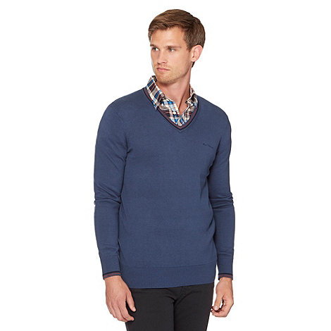 Ben Sherman - Mid blue knit jumper