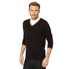 Ben Sherman - Big and tall black V neck jumper