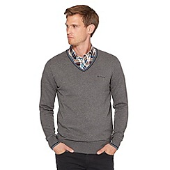 Ben Sherman - Big and tall dark grey V neck jumper