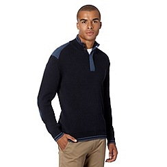 Ben Sherman - Big and tall navy ribbed knit funnel neck jumper