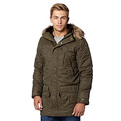 Schott - Khaki wax hooded parka jacket