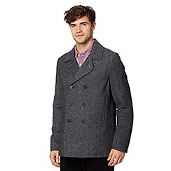 Ben Sherman - Grey herringbone wool blend double breasted jacket