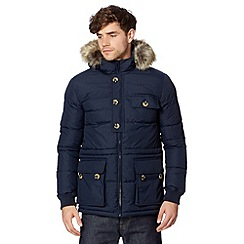 Ben Sherman - Big and tall navy quilted fur trim parka jacket