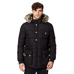 Ben Sherman - Black quilted faux fur hood parka coat
