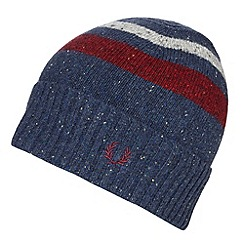 Fred Perry - Navy lambswool spotted beanie hat