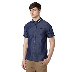 Fred Perry - Blue tape collar chambray regular fit shirt