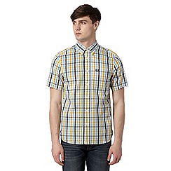 Fred Perry - Mustard herringbone checked regular fit shirt