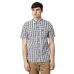 Fred Perry - Light blue herringbone checked regular fit shirt