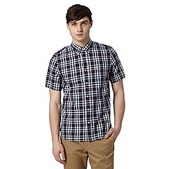 Fred Perry - Wine large herringbone checked regular fit shirt