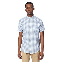 BEN SHERMAN - Big and tall blue short sleeved checked shirt