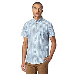 Ben Sherman - Light blue checked short sleeve shirt